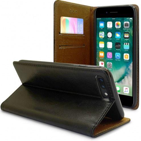 "Etui Italia Folio Stand Apple iPhone 7 Plus (5.5"") Cuir Véritable Bovin Noir"