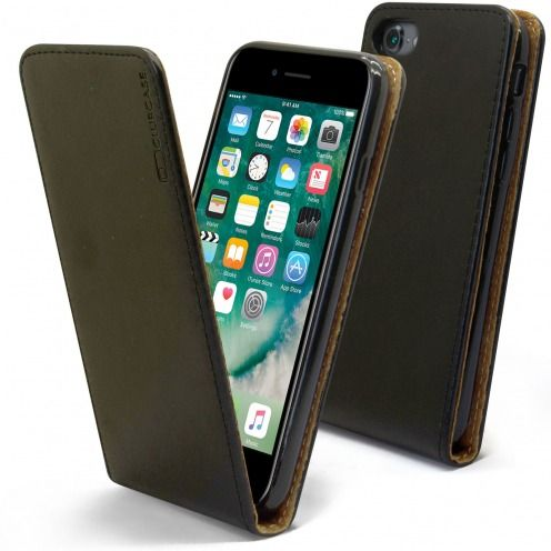 "Etui Italia Flip Apple iPhone 7 (4.7"") Cuir Véritable Bovin Noir"