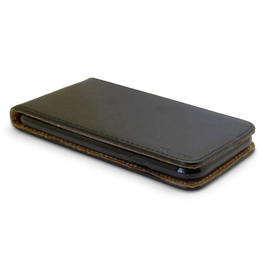 """Etui Italia Flip Apple iPhone 7 (4.7"""") Cuir Véritable Bovin Noir"""