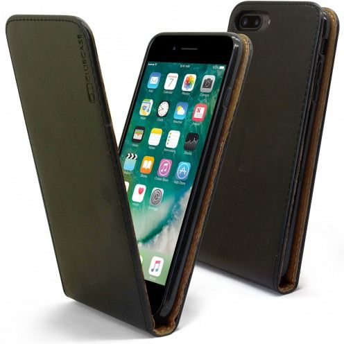 "Etui Italia Flip Apple iPhone 7 Plus (5.5"") Cuir Véritable Bovin Noir"