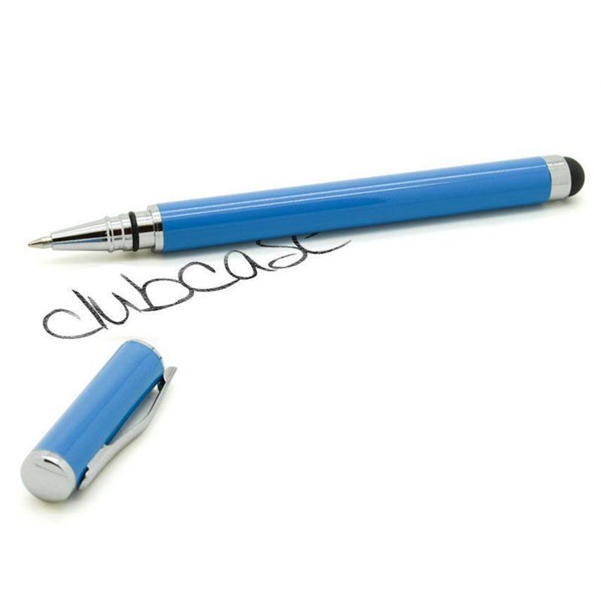 Visuel supplémentaire de Stylo tactile bille à capuchon bleu
