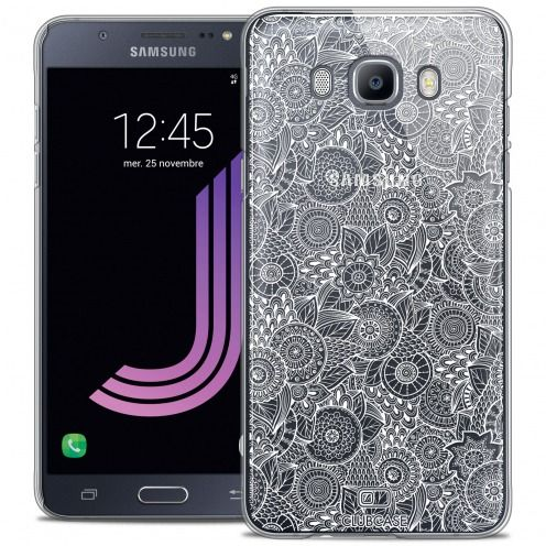 Coque Crystal Galaxy J7 2016 (J710) Extra Fine Texture Dentelle Florale - Blanche