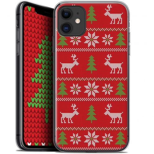 """Coque Gel Apple iPhone 11 (6.1"""") Extra Fine Noël 2017 - Couture Rouge"""