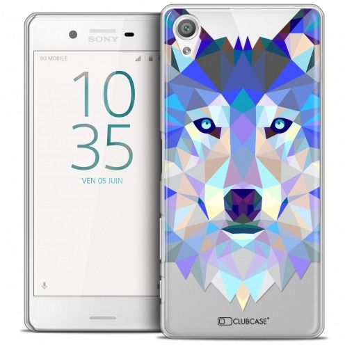 Coque Crystal Xperia X Extra Fine Polygon Animals - Loup