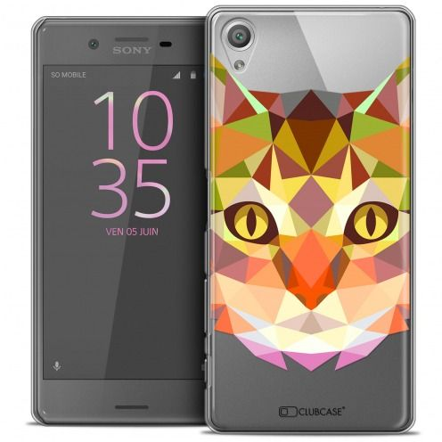 Coque Crystal Xperia X Extra Fine Polygon Animals - Chat