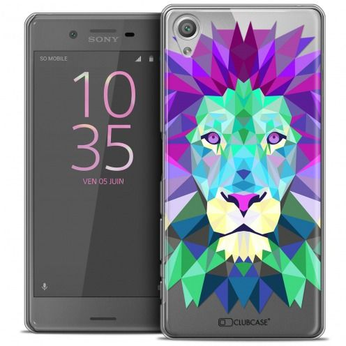 Coque Crystal Xperia X Extra Fine Polygon Animals - Lion