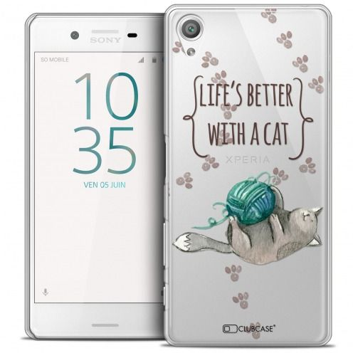 Coque Crystal Xperia X Extra Fine Quote - Life's Better With a Cat