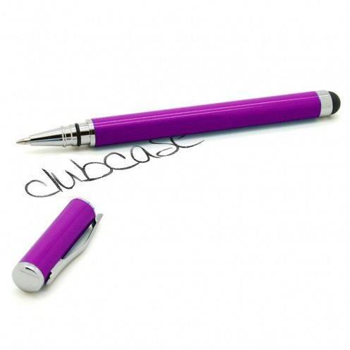 Stylo tactile bille à capuchon violet