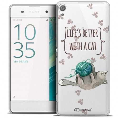 Coque Crystal Xperia XA Extra Fine Quote - Life's Better With a Cat