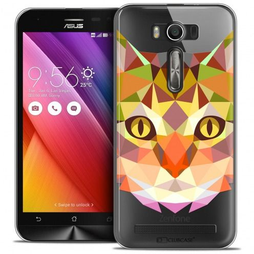 Coque Crystal Zenfone 2 Laser 5.0 (ZE550KL) Extra Fine Polygon Animals - Chat