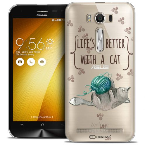 Coque Crystal Zenfone 2 Laser 5.0 (ZE550KL) Extra Fine Quote - Life's Better With a Cat