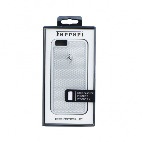 "Coque Ferrari FEPEHCP6SI Perforated Aluminium iPhone 6 4""7 Argent"