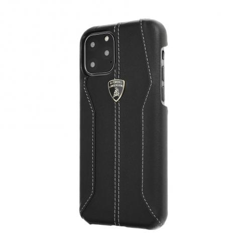 Coque Cuir Véritable Lamborghini Huracan-D1 LB-HCIPX-HU/D1-BK iPhone X/Xs Noir