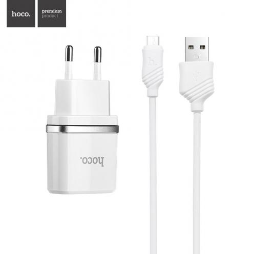 HOCO Chargeur Secteur smart dual USB + Micro Câble charger set 2,4A C12