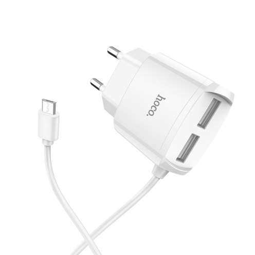HOCO Chargeur Secteur Mega joy double USB port and built-in wire pour Micro USB C59 2,1A Blanc