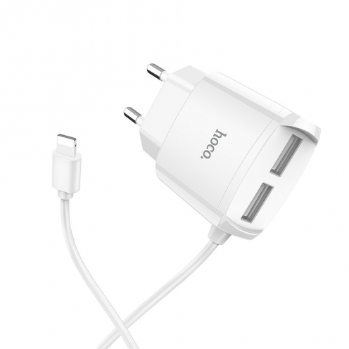 HOCO Chargeur Secteur Mega joy double USB port and built-in wire pour Lightning C59 2,1A Blanc