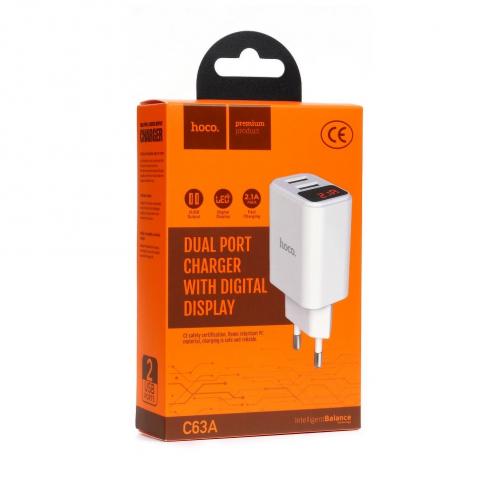 HOCO Chargeur Secteur C63A Victoria dual port charger avec digital display (EU) Blanc
