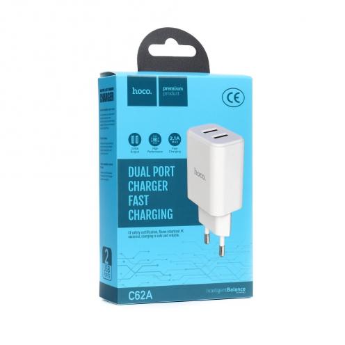 HOCO Chargeur Secteur C62A Victoria dual port charger(EU) Blanc