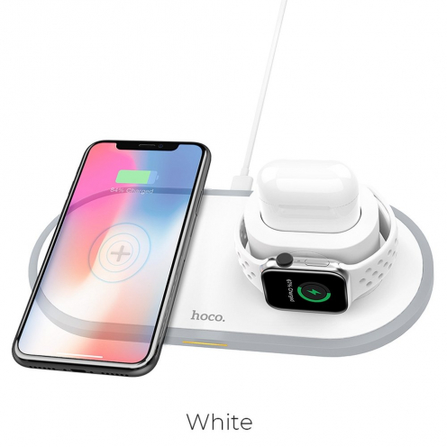 HOCO Chargeur Sans Fil CW21 Wisdom Qi 3-in-1 (mobile + smartwatch + airpods) 2A 10W Blanc