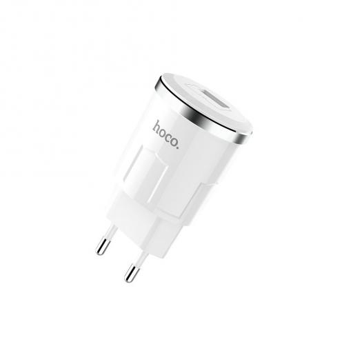 HOCO Chargeur Secteur single port USB Thunder Power 2,4A C37A Blanc