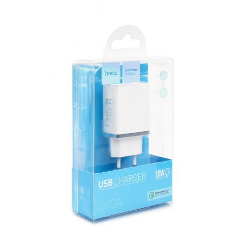 HOCO Chargeur Secteur single USB QC3.0 VAST POWER C42A Blanc