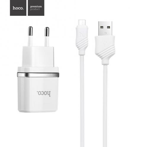 HOCO Chargeur Secteur smart USB + Micro Câble 1A C11 Blanc