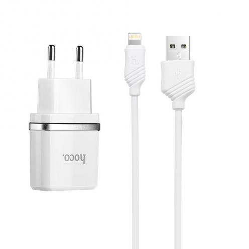 HOCO Chargeur Secteur smart USB + Lightning Câble 1A C11 Blanc