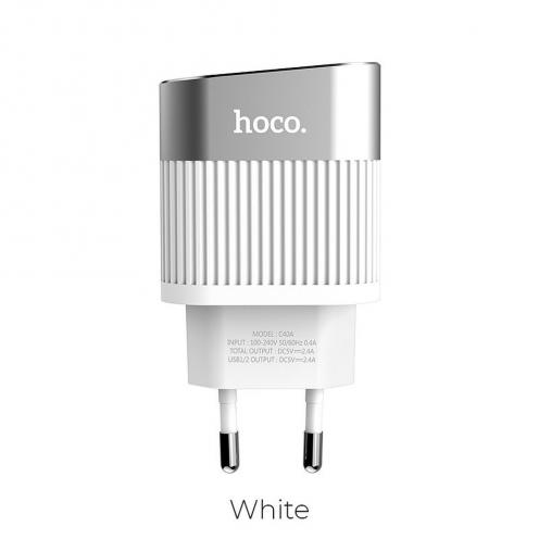 HOCO Chargeur Secteur Speedmaster Dual Port Charger 2,4A C40A Blanc