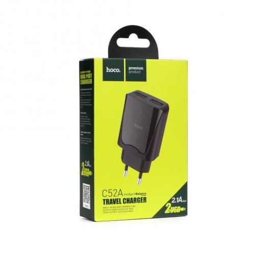 HOCO Chargeur Secteur 2x USB C52A 2,1A Noir