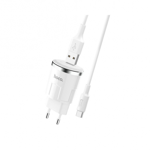 HOCO Chargeur Secteur single port USB + Type C Câble Thunder Power 2,4A C37A Blanc