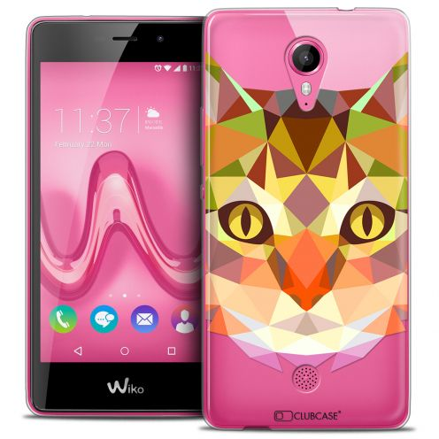 Coque Crystal Gel Wiko Tommy Extra Fine Polygon Animals - Chat