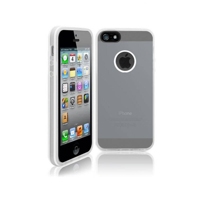 Vue complémentaire de Coque iPhone 5 White Stripes Blanche