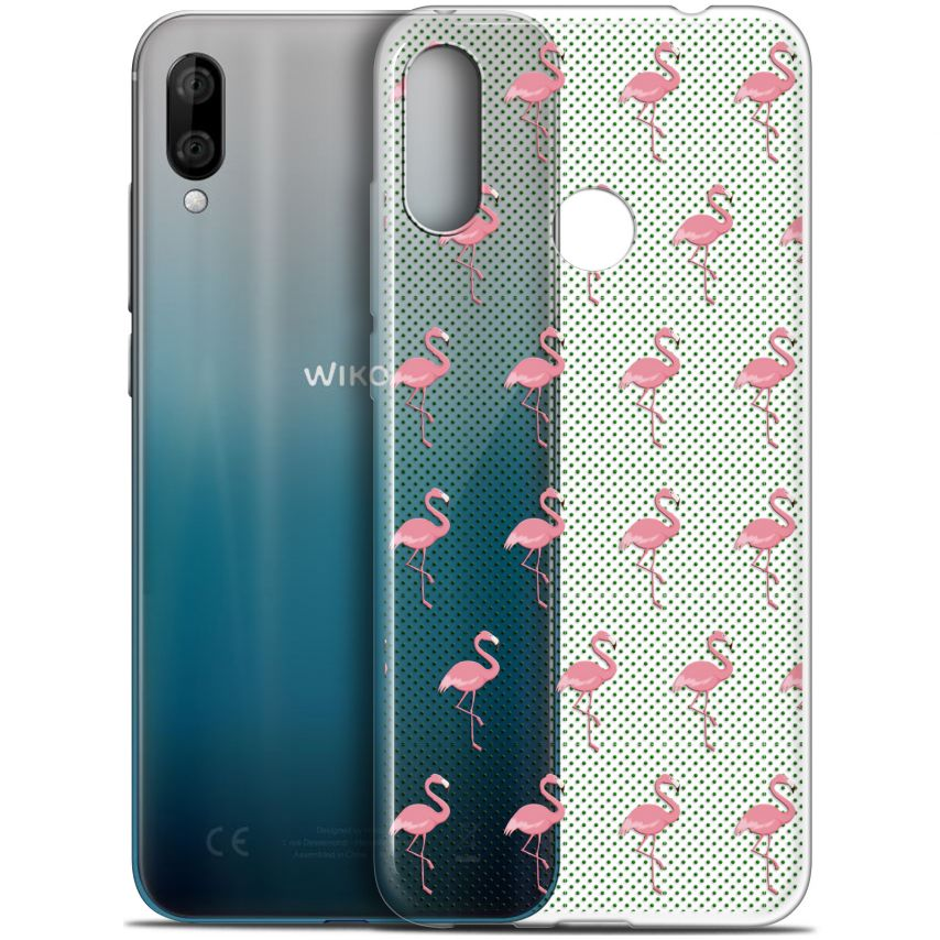 """Coque Gel Wiko View 3 LITE (6.09"""") Extra Fine Pattern - Les flamants Roses Dots"""