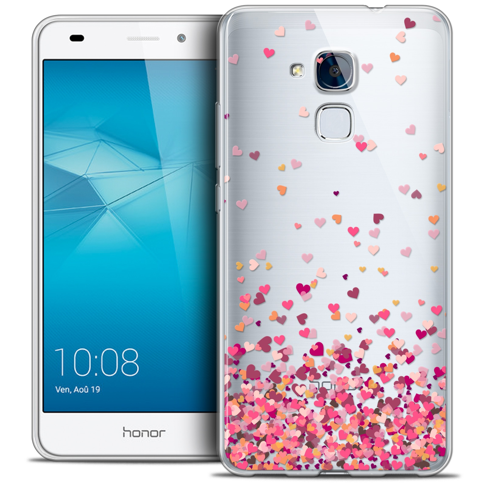 coque crystal gel huawei honor 5c extra fine design made in france heart flakes. Black Bedroom Furniture Sets. Home Design Ideas