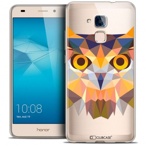 Coque Crystal Gel Huawei Honor 5C Extra Fine Polygon Animals - Hibou