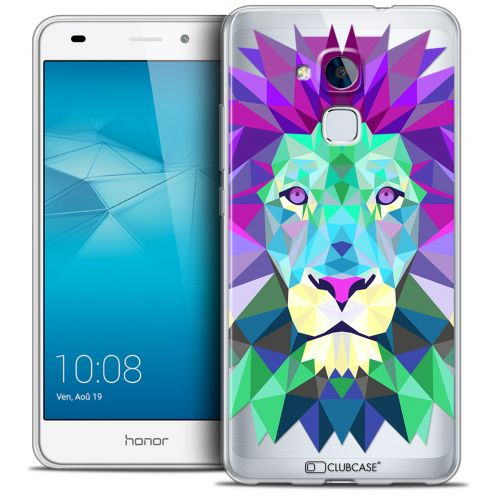 Coque Crystal Gel Huawei Honor 5C Extra Fine Polygon Animals - Lion