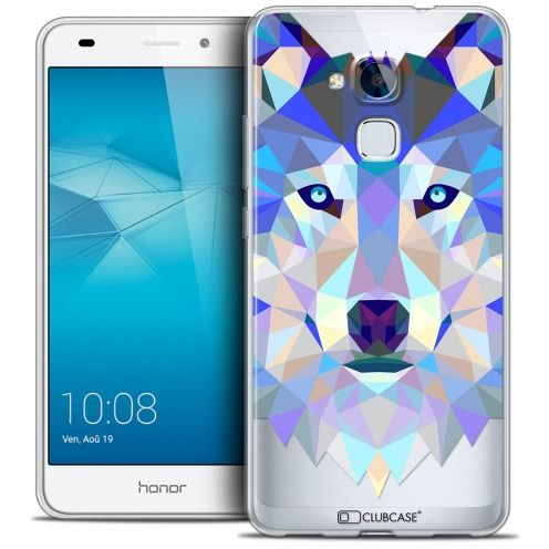 Coque Crystal Gel Huawei Honor 5C Extra Fine Polygon Animals - Loup