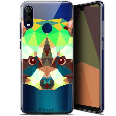 "Coque Gel Wiko View 3 LITE (6.09"") Extra Fine Polygon Animals - Raton Laveur"