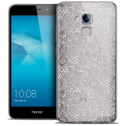 Coque Crystal Gel Huawei Honor 5C Extra Fine Texture Dentelle Florale - Blanche