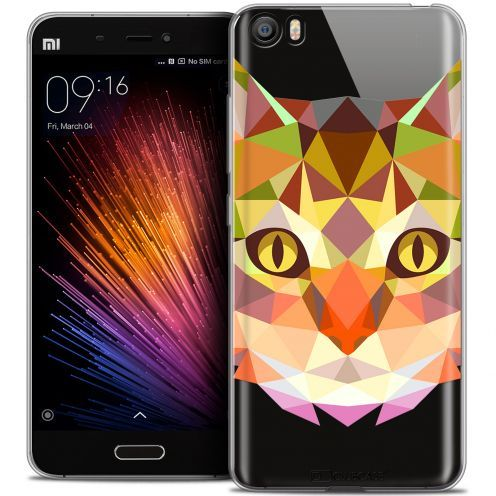Coque Crystal Gel Xiaomi Mi 5 Extra Fine Polygon Animals - Chat