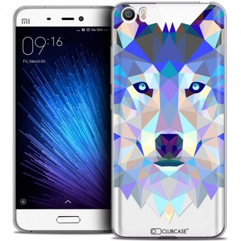 Coque Crystal Gel Xiaomi Mi 5 Extra Fine Polygon Animals - Loup
