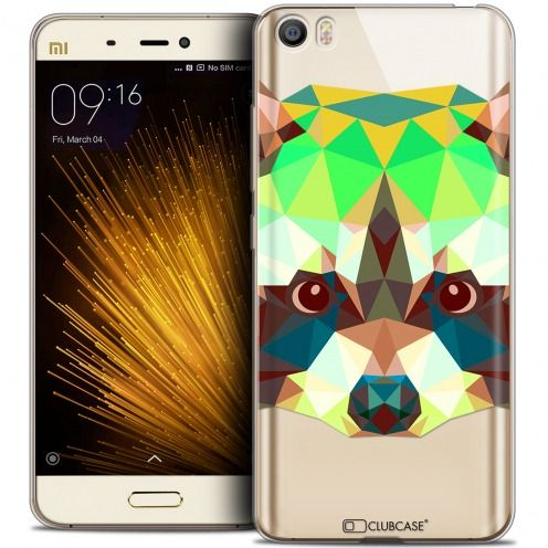 Coque Crystal Gel Xiaomi Mi 5 Extra Fine Polygon Animals - Raton Laveur