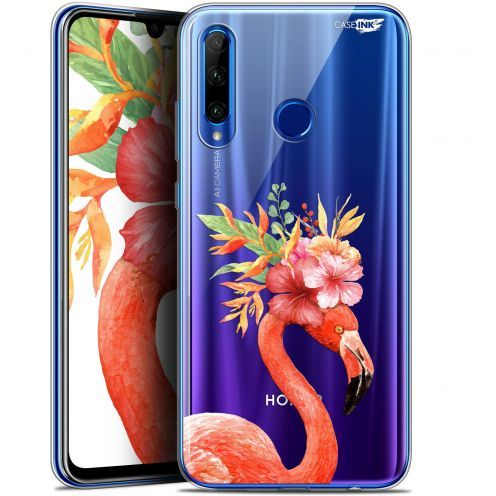 "Coque Gel Huawei Honor 20 LITE (6.2"") Extra Fine Motif - Flamant Rose Fleuri"