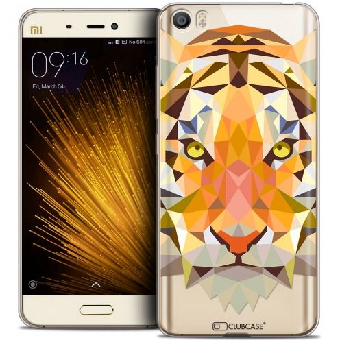 Coque Crystal Gel Xiaomi Mi 5 Extra Fine Polygon Animals - Tigre