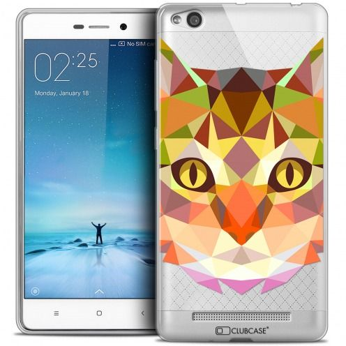 Coque Crystal Gel Xiaomi Redmi 3 Extra Fine Polygon Animals - Chat