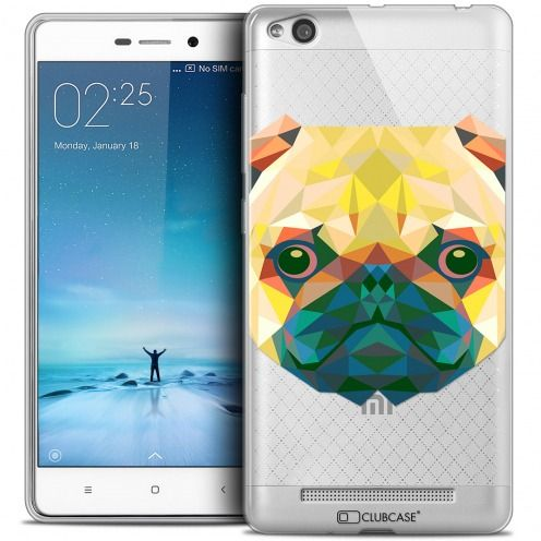Coque Crystal Gel Xiaomi Redmi 3 Extra Fine Polygon Animals - Chien