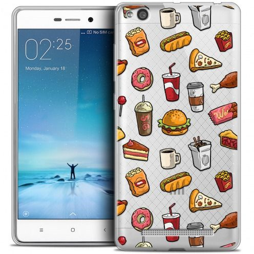 Coque Crystal Gel Xiaomi Redmi 3 Extra Fine Foodie - Fast Food