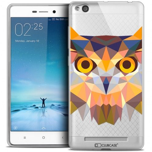 Coque Crystal Gel Xiaomi Redmi 3 Extra Fine Polygon Animals - Hibou