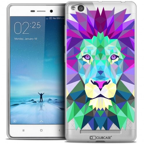 Coque Crystal Gel Xiaomi Redmi 3 Extra Fine Polygon Animals - Lion