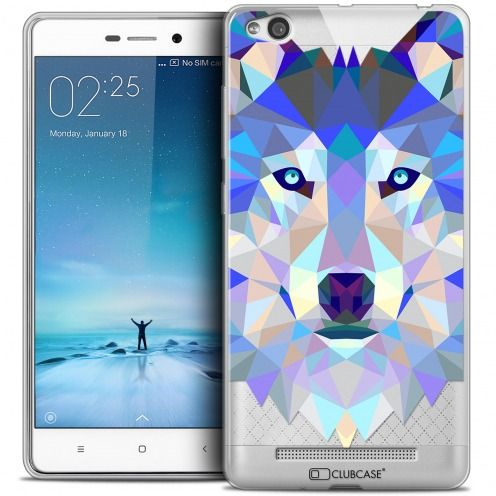 Coque Crystal Gel Xiaomi Redmi 3 Extra Fine Polygon Animals - Loup